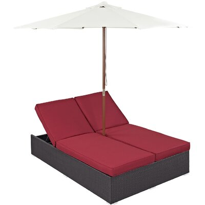 Ryele Double Chaise Lounge with Cushion Fabric: Red