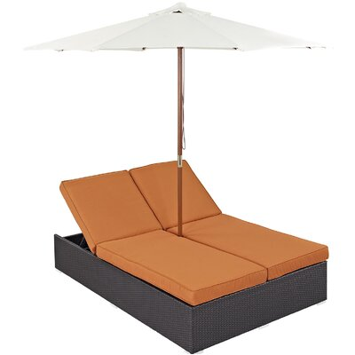 Convene Double Chaise Lounge with Cushion Fabric: Orange