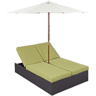Ryele Double Chaise Lounge with Cushion Fabric: Peridot