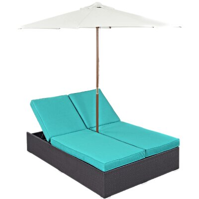 Ryele Double Chaise Lounge with Cushion Fabric: Turquoise