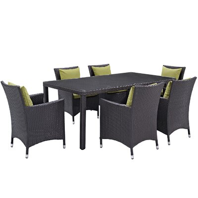 Ryele 7 Piece Outdoor Patio Dining Set with Cushions Cushion Color: Espresso Peridot