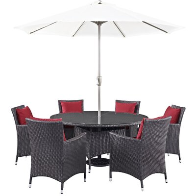 Ryele 8 Piece Outdoor Patio Dining Set with Cushions Cushion Color: Espresso Red