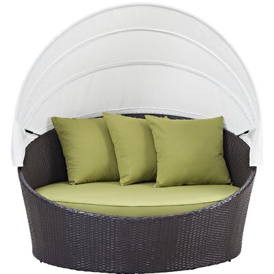Ryele Canopy Outdoor Patio Daybed with Cushions Fabric: Espresso Peridot
