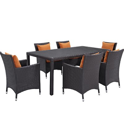 Ryele 7 Piece Outdoor Patio Dining Set with Cushions Cushion Color: Espresso Orange