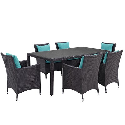 Ryele 7 Piece Outdoor Patio Dining Set with Cushions Cushion Color: Espresso Turquoise