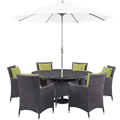 Convene 8 Piece Outdoor Patio Dining Set with Cushions Cushion Color: Espresso Peridot