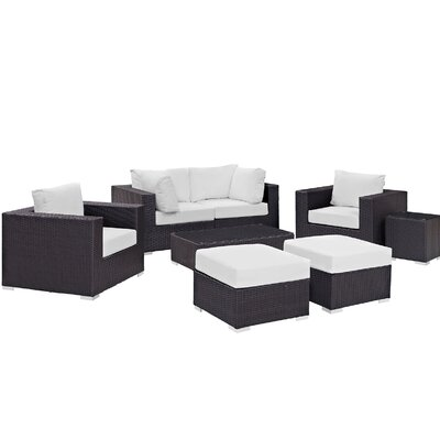 Ryele 8 Piece Outdoor Metal Frame Patio Sectional Set with Cushions Fabric: Espresso White