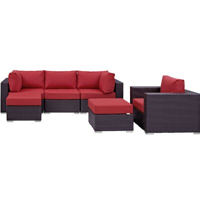 Ryele 6 Piece Outdoor Patio Sectional Set with Cushions Fabric: Espresso Red