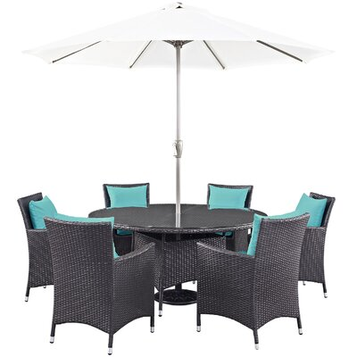 Ryele 8 Piece Outdoor Patio Dining Set with Cushions Cushion Color: Espresso
