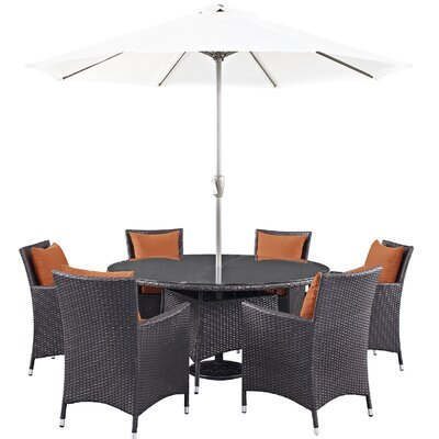 Ryele 8 Piece Outdoor Patio Dining Set with Cushions Cushion Color: Espresso Orange