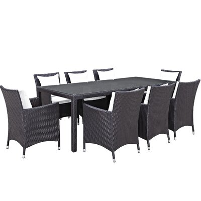 Convene 9 Piece Outdoor Patio Dining Set with Cushions Cushion Color: Espresso White