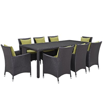 Ryele 9 Piece Outdoor Patio Dining Set with Cushions Cushion Color: Espresso Peridot