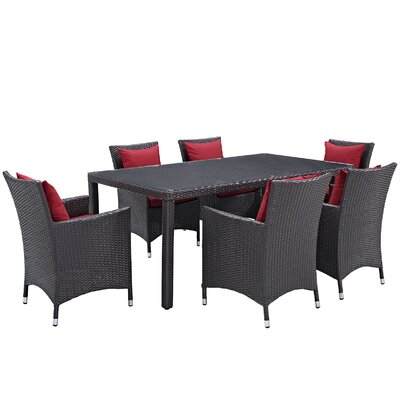Ryele 7 Piece Outdoor Patio Dining Set with Cushions Cushion Color: Espresso Red