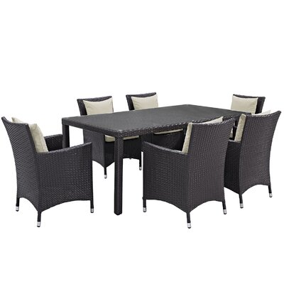 Ryele 7 Piece Outdoor Patio Dining Set with Cushions Cushion Color: Espresso Beige
