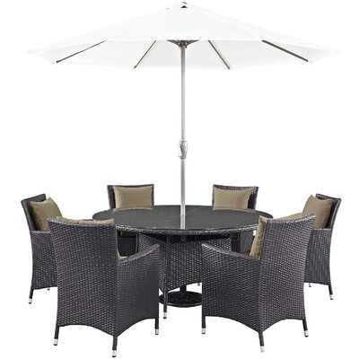 Ryele 8 Piece Outdoor Patio Dining Set with Cushions Cushion Color: Espresso Mocha