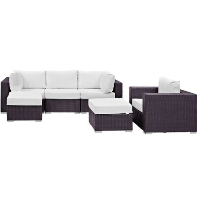 Ryele 6 Piece Outdoor Patio Sectional Set with Cushions Fabric: Espresso White