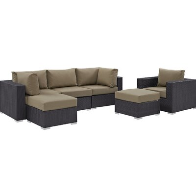 Ryele 6 Piece Outdoor Patio Sectional Set with Cushions Fabric: Espresso Mocha