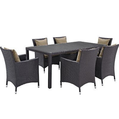 Ryele 7 Piece Outdoor Patio Dining Set with Cushions Cushion Color: Espresso Mocha