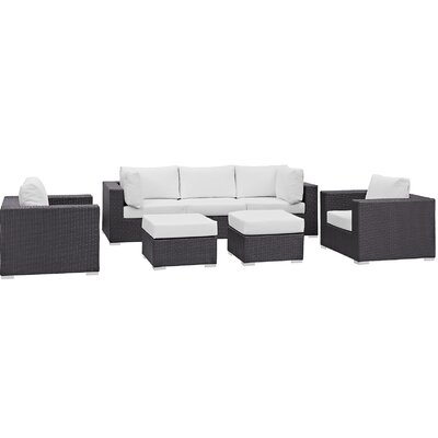 Ryele 7 Piece Outdoor Patio Sectional Set with Cushions Fabric: Espresso White