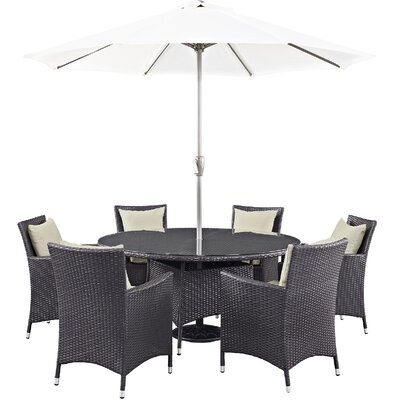 Ryele 8 Piece Outdoor Patio Dining Set with Cushions Cushion Color: Espresso Beige