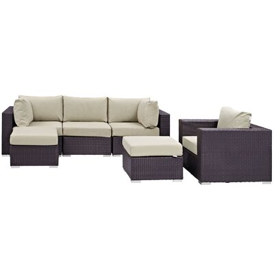 Ryele 6 Piece Outdoor Patio Sectional Set with Cushions Fabric: Espresso Beige