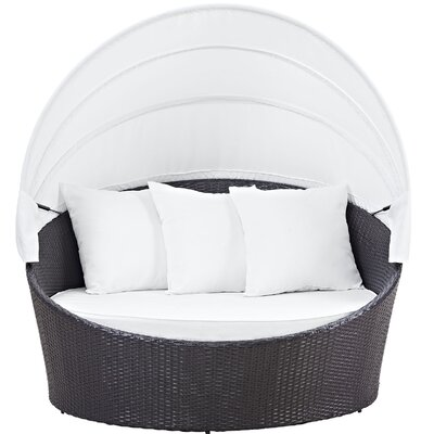 Ryele Canopy Outdoor Patio Daybed with Cushions Fabric: Espresso White