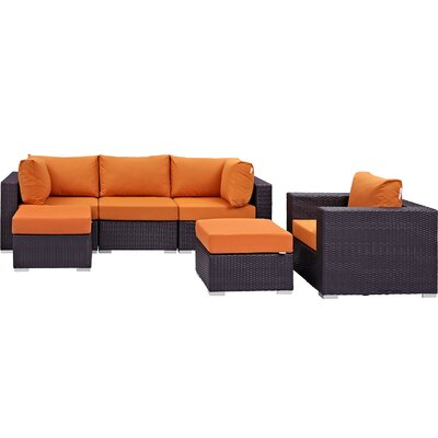 Ryele 6 Piece Outdoor Patio Sectional Set with Cushions Fabric: Espresso Orange