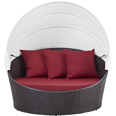 Ryele Canopy Outdoor Patio Daybed with Cushions Fabric: Espresso Red
