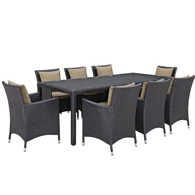 Ryele 9 Piece Outdoor Patio Dining Set with Cushions Cushion Color: Espresso Mocha