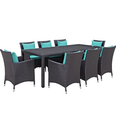 Ryele 9 Piece Outdoor Patio Dining Set with Cushions Cushion Color: Espresso Turquoise