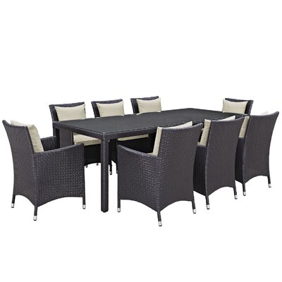 Ryele 9 Piece Outdoor Patio Dining Set with Cushions Cushion Color: Espresso Beige