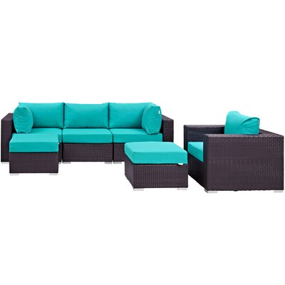 Ryele 6 Piece Outdoor Patio Sectional Set with Cushions Fabric: Espresso Turquoise