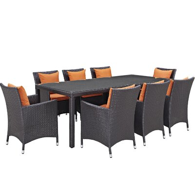Ryele 9 Piece Outdoor Patio Dining Set with Cushions Cushion Color: Espresso Orange