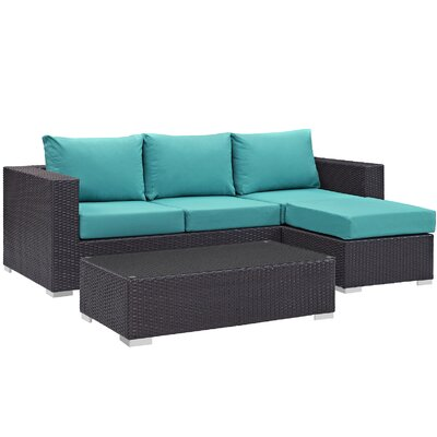 Ryele Contemporary 3 Piece Deep Seating Group with Cushion Fabric: Turquoise
