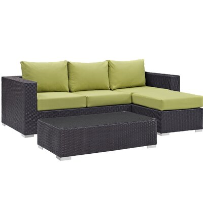 Ryele Contemporary 3 Piece Deep Seating Group with Cushion Fabric: Peridot