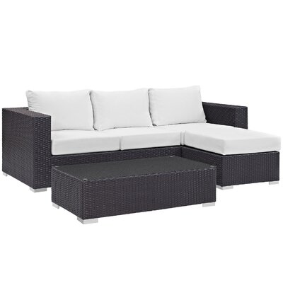 Ryele Contemporary 3 Piece Deep Seating Group with Cushion Fabric: White