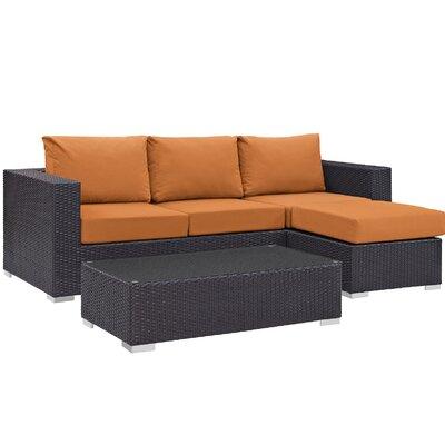 Ryele Contemporary 3 Piece Deep Seating Group with Cushion Fabric: Orange