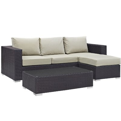 Ryele Contemporary 3 Piece Deep Seating Group with Cushion Fabric: Beige