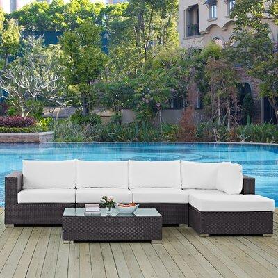Ryele 5 Piece Deep Seating Group with Cushion Fabric: White