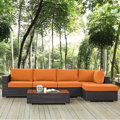 Ryele 5 Piece Deep Seating Group with Cushion Fabric: Orange