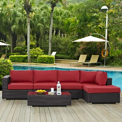 Ryele 5 Piece Deep Seating Group with Cushion Fabric: Red