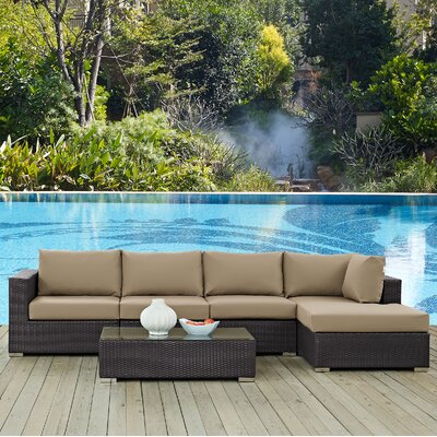 Ryele 5 Piece Deep Seating Group with Cushion Fabric: Mocha