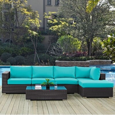Convene 5 Piece Deep Seating Group with Cushion Fabric: Turquoise