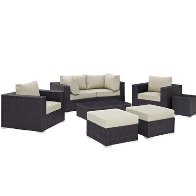 Ryele 8 Piece Outdoor Metal Frame Patio Sectional Set with Cushions Fabric: Espresso Beige