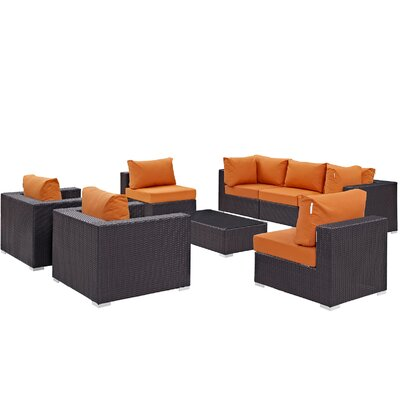 Ryele Contemporary 8 Piece Outdoor Patio Sectional Set with Cushions Fabric: Espresso Orange