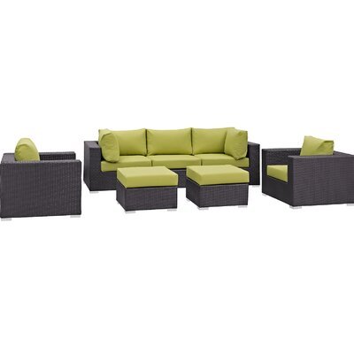 Ryele 7 Piece Outdoor Patio Sectional Set with Cushions Fabric: Espresso Peridot