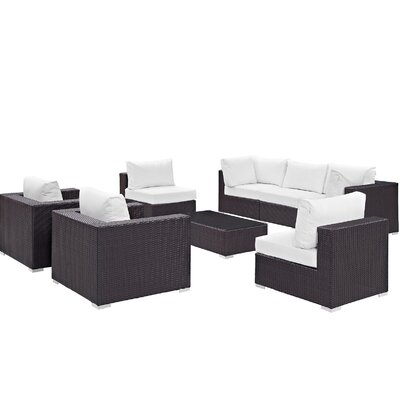 Ryele Contemporary 8 Piece Outdoor Patio Sectional Set with Cushions Fabric: Espresso White
