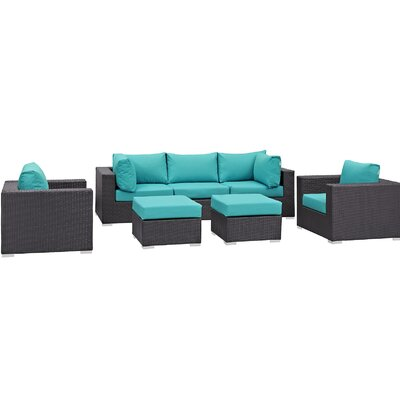 Ryele 7 Piece Outdoor Patio Sectional Set with Cushions Fabric: Espresso Turquoise