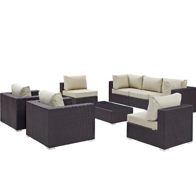Ryele Contemporary 8 Piece Outdoor Patio Sectional Set with Cushions Fabric: Espresso Beige