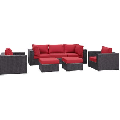 Ryele 7 Piece Outdoor Patio Sectional Set with Cushions Fabric: Espresso Red